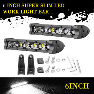 2 Pcs Super Slim 6 inch 60w Led Work Light Bar Single Row Combo Driving Off Road