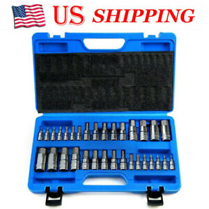32 Pcs Master Allen Wrench Bit Kit Hex For Ratchet Socket Tool Sae Metric Set