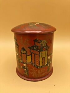Antique Hand Painted Asian Chinese Tin Tea Caddy Box W Double Lid