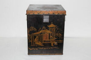 Antique Hand Painted Asian Chinese Tin Tea Caddy Box W Hinged Lid