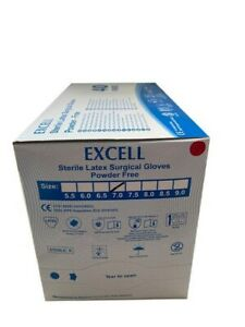 Box Of 40 Pairs Excell Sterile Latex Surgical Gloves Powder free Size 7 Fda