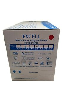 Box Of 40 Pairs Excell Sterile Latex Surgical Gloves Powder free Size 7 5 Fda