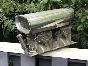 Sbc Offenhauser Intake Tunnel Ram Edelbrock Competition Dual Carbs Vintage Scoop