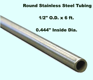 Round Tubing 304 Stainless Steel 1 2 Od X 6 Ft Welded 0 444 Inside Dia