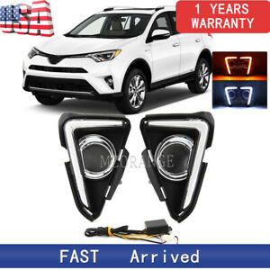 Led Daytime Running Light Drl Fog Lamp For Toyota Rav4 2016 2018 Turn Signal Us