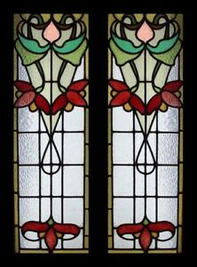 Awesome Floral Art Nouveau English Pair Stained Glass Sidelights Windows