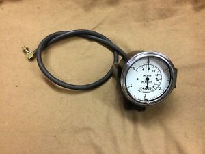 Vintage Car Truck Rat Rod Vacuum Gauge With Bracket Brass Fittings