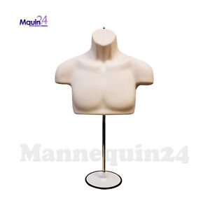 Male Torso Mannequin Form Flesh Chest Long With Metal Stand