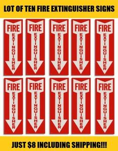 lot Of 10 Self adhesive Vinyl fire Extinguisher Arrow Sign s 4 X 12 New