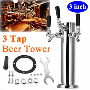 3 Stainless Steel 3 Tap 3 Faucet Draft Beer Tower For Bar Home Brew Kegerator