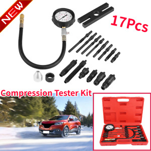 17pcs Compression Tester Gauge Kit Fit For Auto Tractor Diesel Tdi Cdi Engine