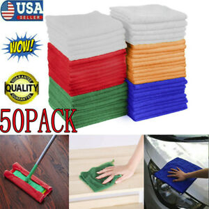 50 Pack Microfiber Cleaning Cloth No Scratch Rag Car Polishing Detailing Towel