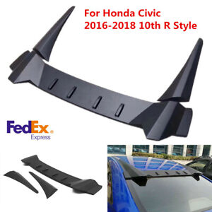 Car Rear Window Roof Vortex Spoiler Wing For Honda Civic 2016 2018 10th R Style