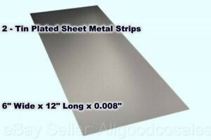 2 Tin Plated Sheet Metal Strips 6 Wide X 12 Long X 0 008 Thick Mill Finish