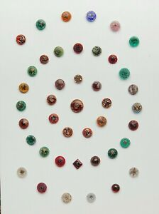 Collector S Card Of 42 Antique Buttons Victorian Glass Transparent Small