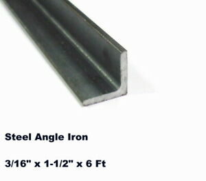 Steel Angle Iron 3 16 X 1 1 2 X 6 Ft Hot Rolled Carbon Steel 90 Stock Mill