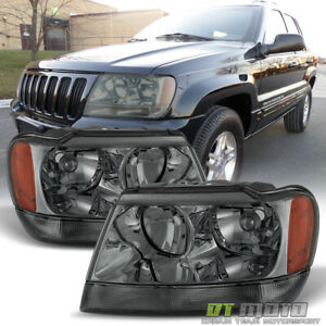 Smoked 1999 2004 Jeep Grand Cherokee Replacement Headlights Headlamps 99 04