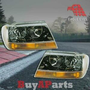 Pair Black Housing Headlights For 1999 2004 Jeep Grand Cherokee Wj Left Right