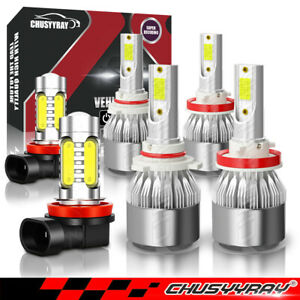 6pcs For Honda Pilot 2006 2018 White Led Headlight Hi lo fog Light Combo Kit