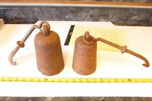 2 Big Old Cast Iron Hanging Scale Weight Lot D