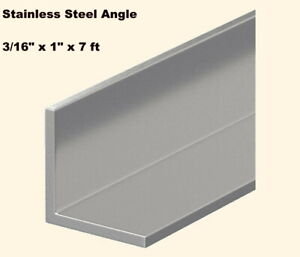 Stainless Steel Angle Iron 3 16 X 1 X 7 Ft 90 Hot Rolled 304 Mill Finish