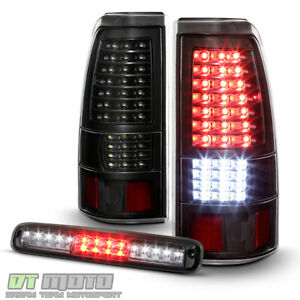 2003 2006 Chevy Silverado 1500 Blk Full Led Tail Lights Led 3rd Brake Cargo Lamp