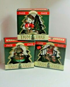 """Lot of 3 Collectible Coca Cola Christmas Ornaments """"Trim A Tree""""Collection #1"""