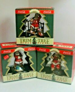 """Lot of 3 Collectible Coca Cola Christmas Ornaments """"Trim A Tree""""Collection #2"""