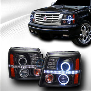 Fits 02 06 Cadillac Escalade Black Led Halo Projector Head Lights Parking Amber