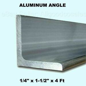 Aluminum Angle 1 4 X 1 1 2 X 4 Ft Length Unpolished Alloy 6061 90 Stock
