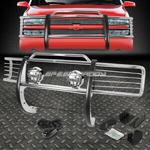 Chrome Brush Grill Guard round Clear Fog Light For 88 99 C k C10 Suburban Tahoe