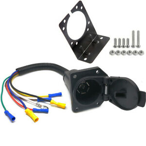 7 Way Rv Style Trailer Connector Socket With Wiring Harness And Mounting Bracket
