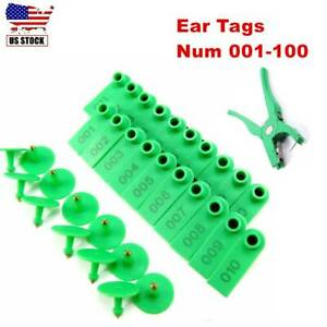 001 100 Number Livestock Ear Tag Sheep Cow Goat Plastic Green Farm Animals New
