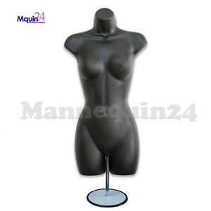 Black Mannequin Female Torso Dress Form With Metal Stand And Hook For Hanging