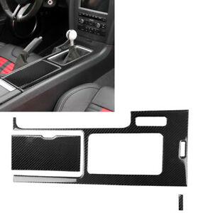 Car Carbon Fiber Center Console Gear Shift Cover Trim For Ford Mustang 2009 2013