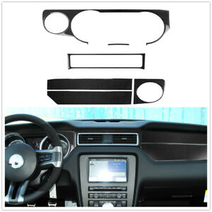 Car Carbon Fiber Interior Dashboard Panel Cover Trim For Ford Mustang 2009 2013