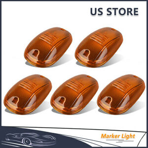 5pcs Amber Cab Roof Marker Light Clearance Lamps Covers For 2003 2016 Dodge Ram