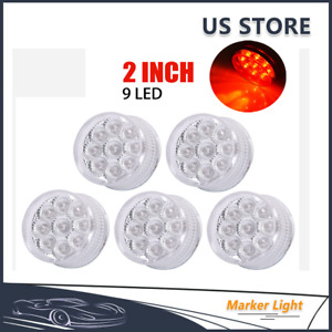 5pcs Red 2 Inch Round 9 Led Side Clearance Marker Light Truck Trailer Lamps 12v
