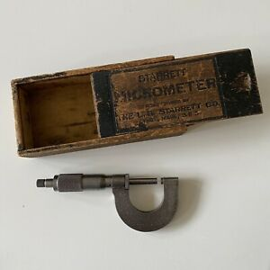 Vintage Starrett Micrometer Usa With Original Wood Box Antique Tools