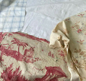 Antique Vintage French Fabrics Materials Crafting Project Bundle Napkin Toile