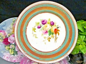 Antique 1850 S Ridgway Barlow Painted Roses Plate Beaded Gold Bands England