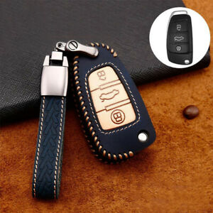 Leather Car Flip Key Fob Case Cover Holder For Audi A1 A3 A4 A6 A7 A8 Tt Q5 Q7
