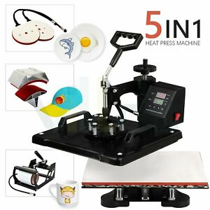 15 X 12 Heat Press Machine 5 In 1 Swing Away Digital Sublimation For Hat Plate