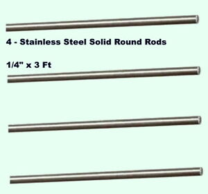 Stainless Steel Solid Round Stock 4 Lengths 1 4 X 3 Ft 303 Alloy Rods