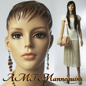 Female Mannequin metal Base Hand Made Head full Body painted Skin Manikin 1wig