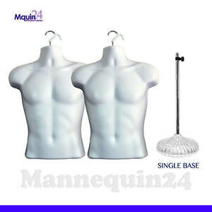 2 Mannequin Male Torsos 1 Acrylic Stand 2 Hangers Men s Dress Forms