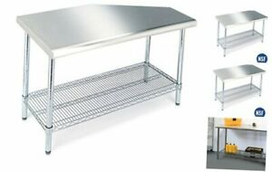 Seville Classics Stainless Commercial grade Work Table Steel Wire Shelf Kitchen