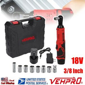 Cordless 3 8in Electric 18v Ratchet Wrench Tool Set W Battery Charger Kit New