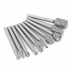 10x Tungsten Carbide Cutting Burr Set Drill Bits Rotary Grinding Grinder Carving