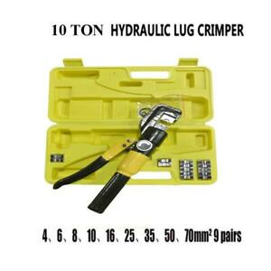 10 Ton Hydraulic Wire Crimper Crimping Tool 9 Dies Cable Line Lug Terminal Plier